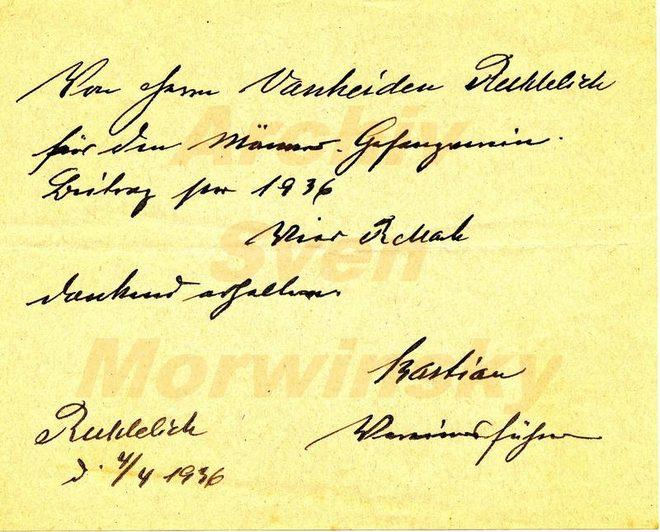 Beitragsquittung Reddelicher Gesangsverein 1936
